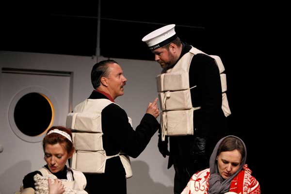 Violet Jessop (Amy Joyce Hastings), Bruce Ismay (Julien Ball), Quartermaster Hichens (Liam Mulvey) and Ettie Dean (Katharine Owen)