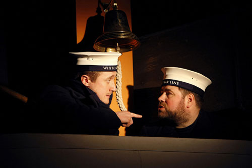 The lookouts: Frederick Fleet (Matthew Walker) and Reginald Lee (Steven George)