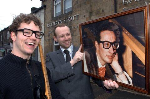 GOING WEST: Optician and musical director Royston Bayfield checks the likeness between local actor Roger Rowley and rock 'n' roll legend Buddy Holly before Roger heads for the West End to play the pop idol.